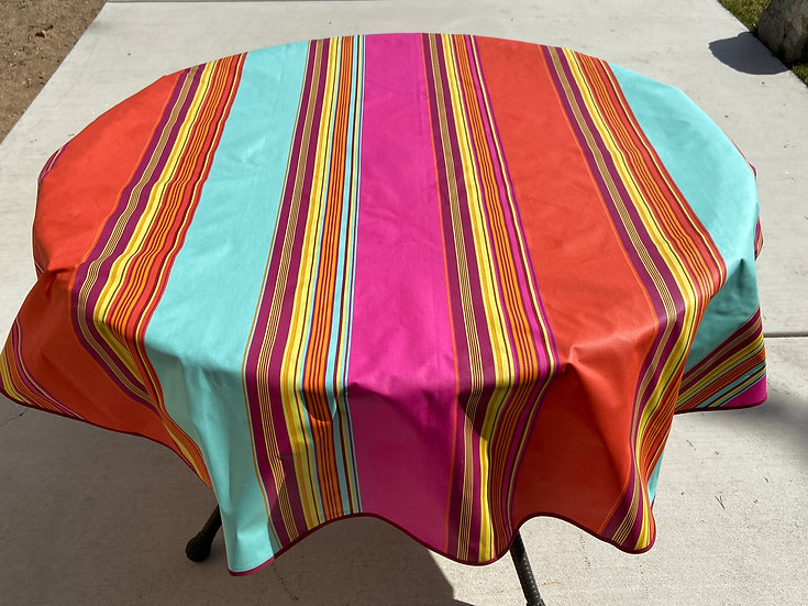 Ardour Striped Multi-Colored Coated Cotton Tablecloth