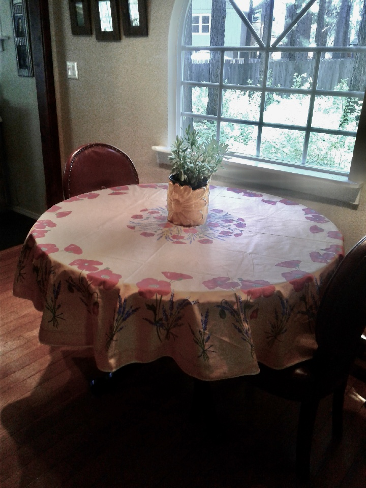 Poppies and Lavender Coated Cotton Tablecloths: Yellow