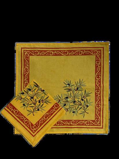 Olive Saffron Cotton Napkins
