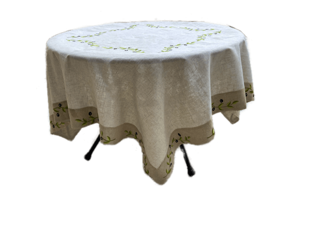 Embroidered Olive Tablecloths and Toppers