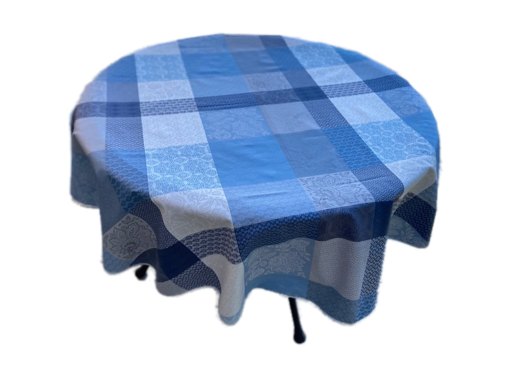Coated Patch Jacquard Tablecloth: Blue