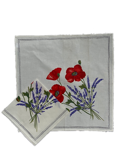 Poppy and Lavender White Napkin