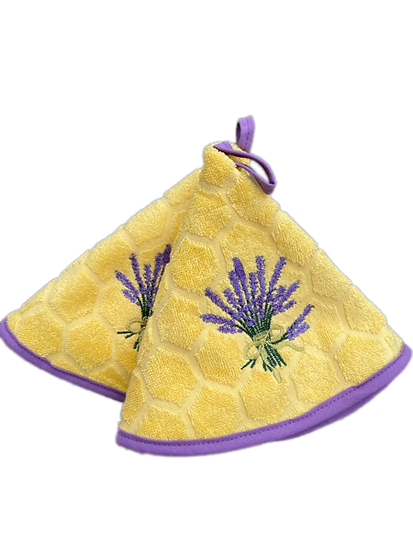 Small Terrycloth Round Hand Towels: Honeycomb Lavender