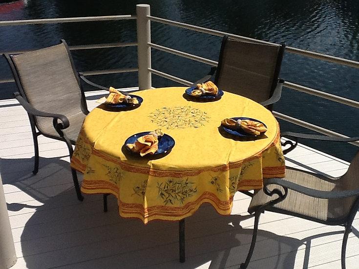 Olive Saffron Coated Cotton Tablecloths