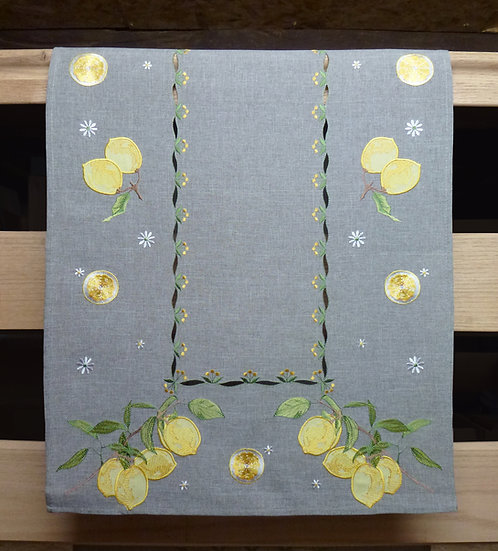 Embroidered Citron Table Runner