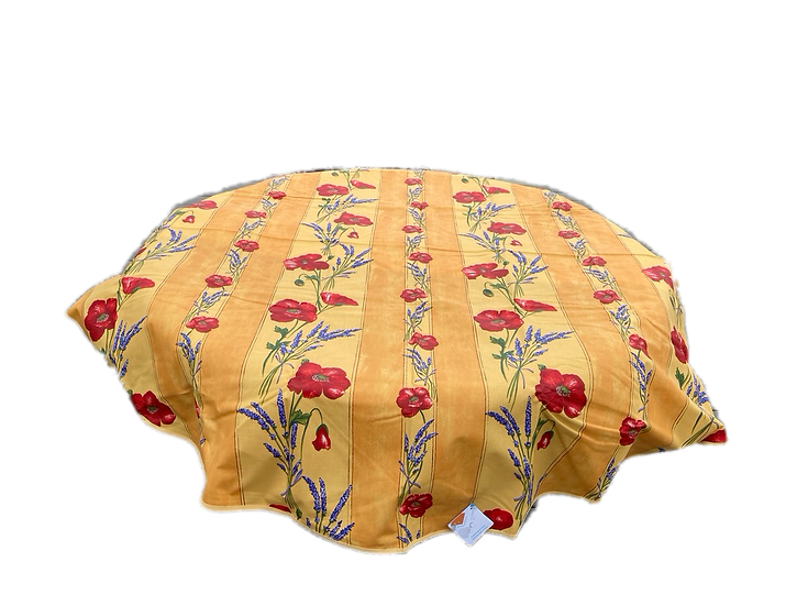 Poppies and Lavender Yellow Striped Coated Cotton Tablecloth