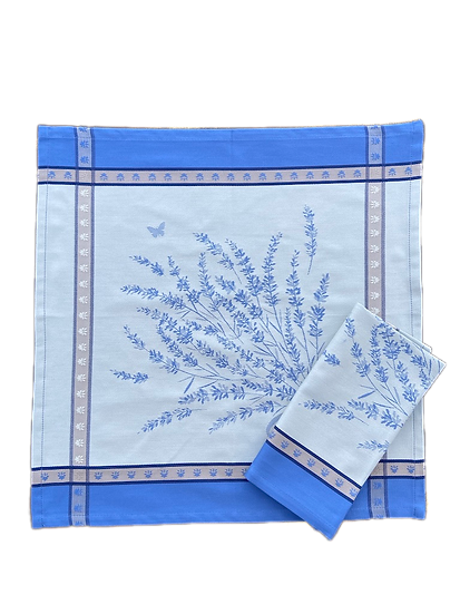 Grignan Jacquard Napkins: Blue with White