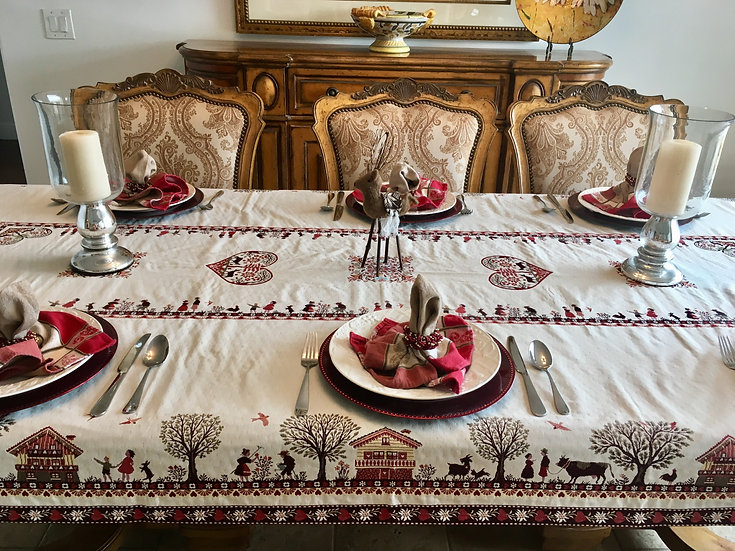 Coeur d'Hiver Natural Embroidered Holiday Table Topper
