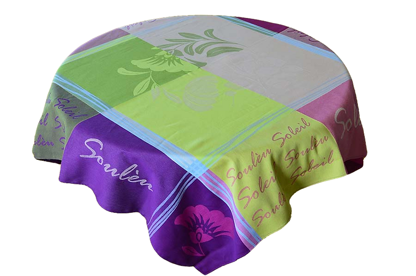 Soleil Purple Jacquard Tablecloth