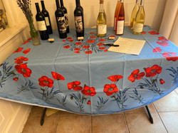 Poppies and Lavender Light Blue Coated Cotton Tablecloth