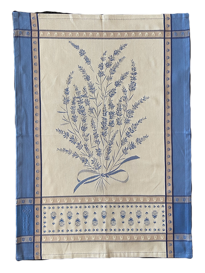 Grignan Dish Towels: Blue with White