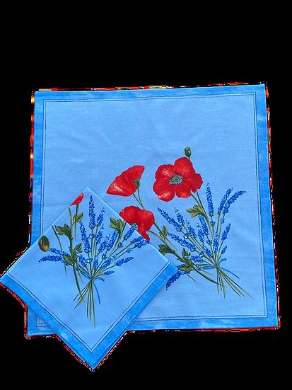 Poppy and Lavender Light Blue Napkin