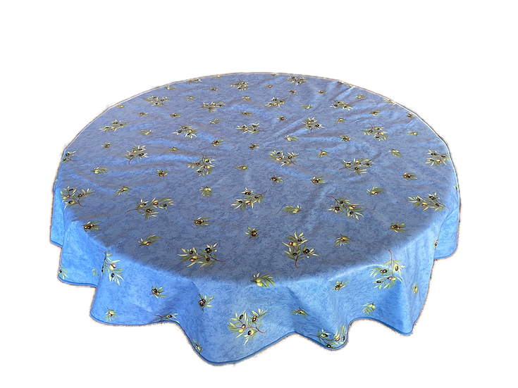 Olives Blue Coated Cotton Tablecloths