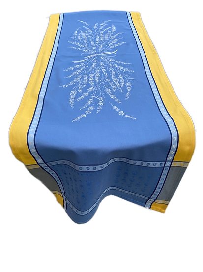 Grignan Jacquard Table Runner: Blue with Yellow