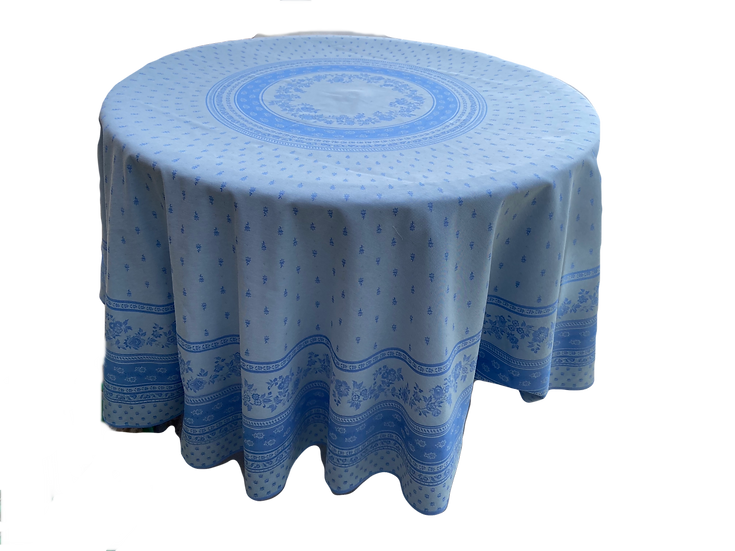 Durance Luxury Blue Jacquard Tablecloth Reverse Side