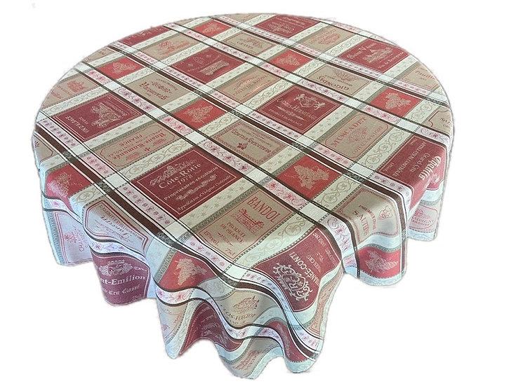 Les Vins Red Jacquard Tablecloth