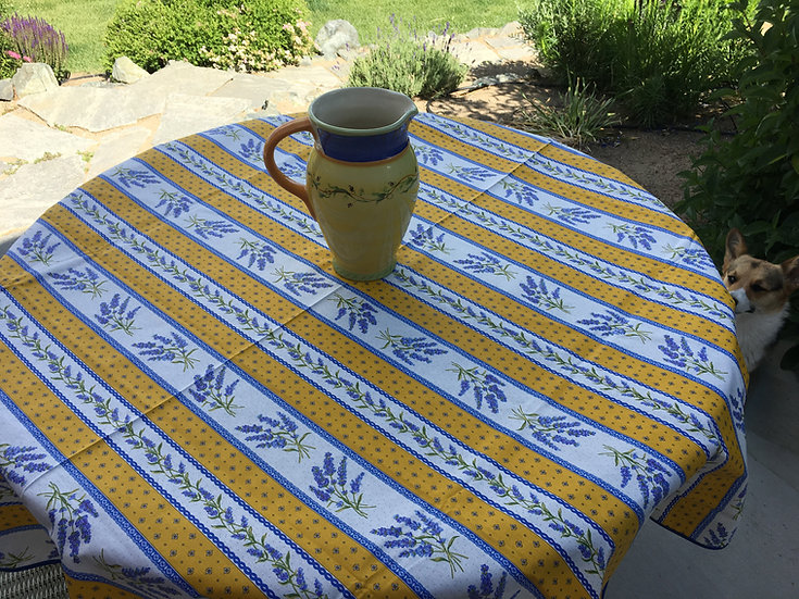 Grasse Coated Cotton Tablecloths: Yellow