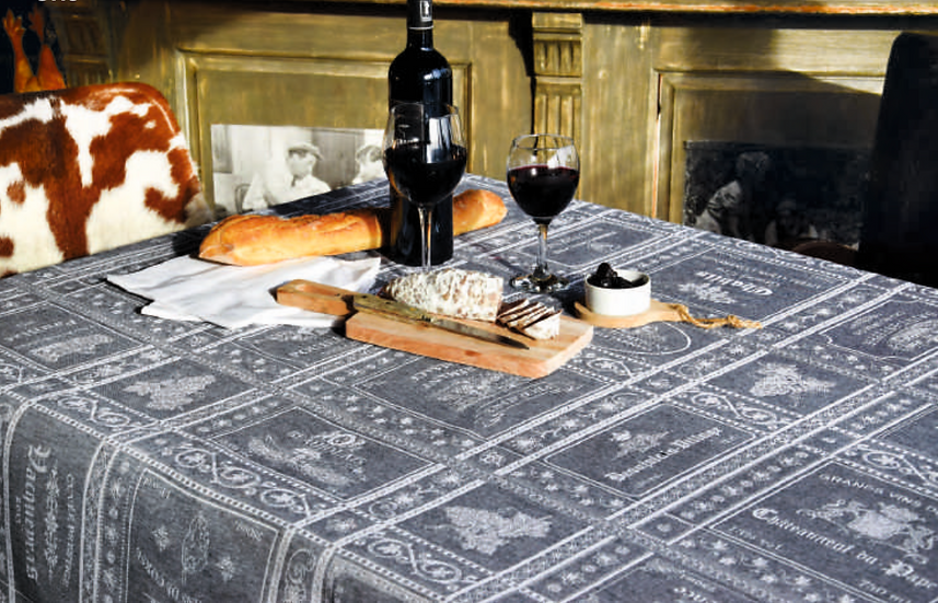 Les Vins Jacquard Tablecloth: Grey