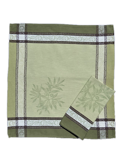Olives Jacquard Napkins: Green