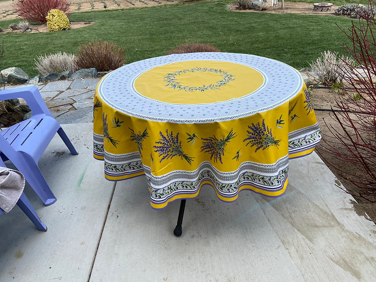 Lauris Coated Cotton Tablecloths: Yellow