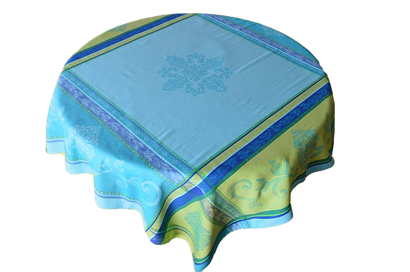Seguret Turquoise Jacquard Tablecloth