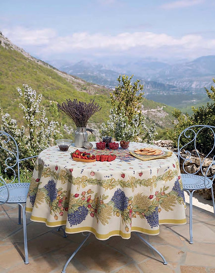 Roses & Lavender Centered Coated Cotton Tablecloth