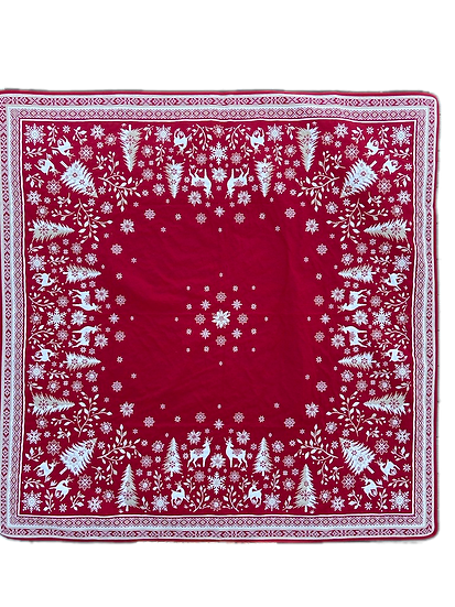 Vallee de Neige Red Embroidered Holiday Table Topper