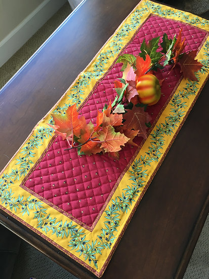 Quilted Cotton Small Table Runner: Red