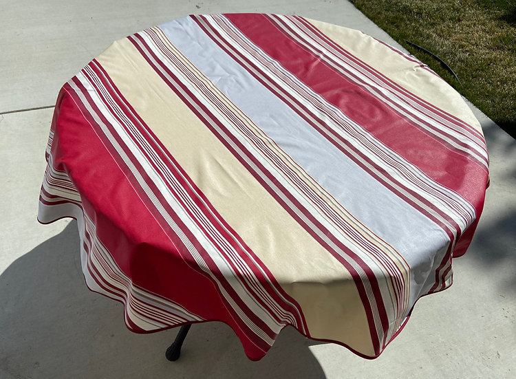 Ardour Striped Coated Cotton Tablecloths: Red with Grey