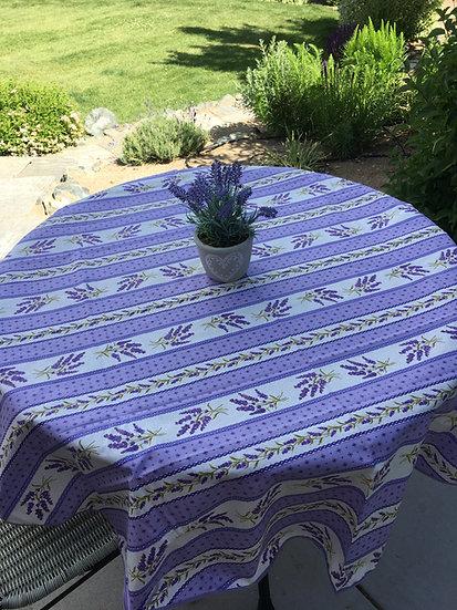 "Purple Grasse Striped 60"" Round Tablecloths"