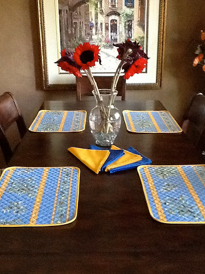 Blue Olives Quilted Cotton Placemats