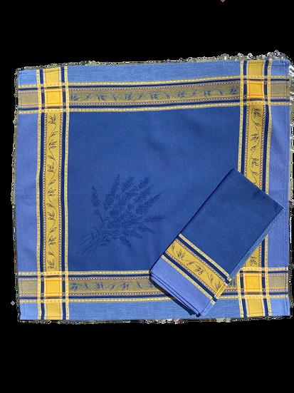 Senanque Blue Yellow Jacquard Napkin