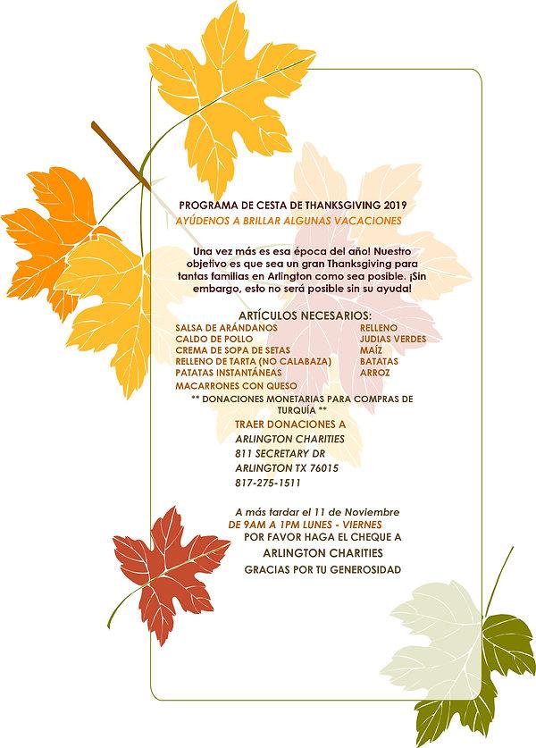Thanksgiving Basket Program Flyer 2019 E