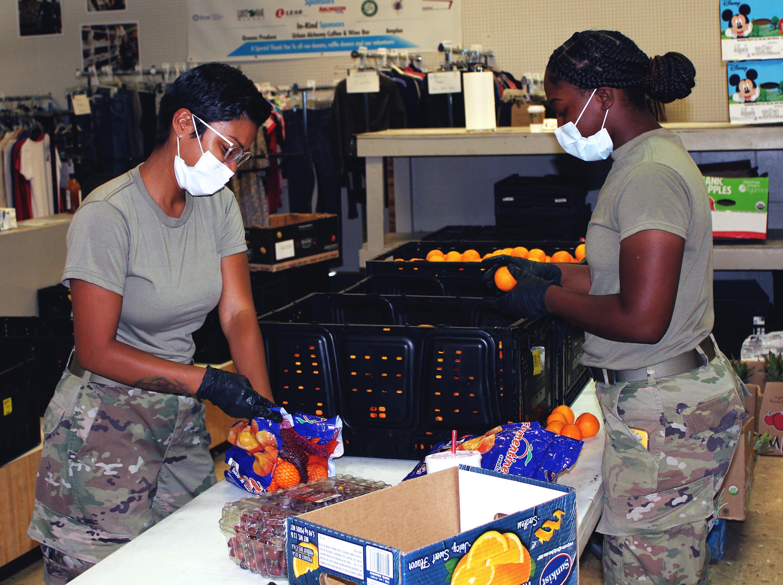guards sorting fruit