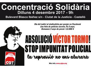 Judici contra un sindicalista de CGT amb petició de tres anys de presó per penjar en Facebook una fo