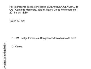 Asamblea General: CGT Sindicato Único Camp de Morvedre