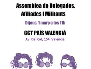 1-m València: Assemblea de delegades, afiliades i militants de CGT País Valencià #Cap a la Vaga Femi