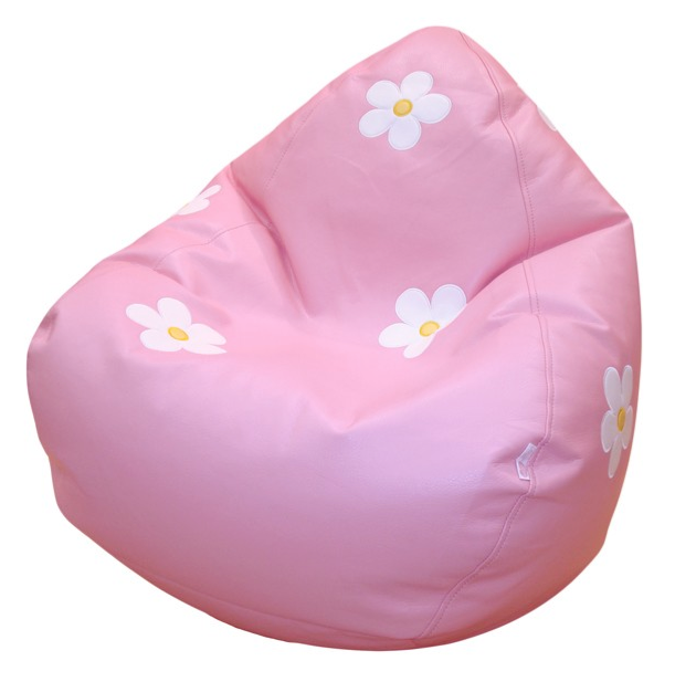 Outstanding Bean Bag Pink With White Flowers Beatyapartments Chair Design Images Beatyapartmentscom