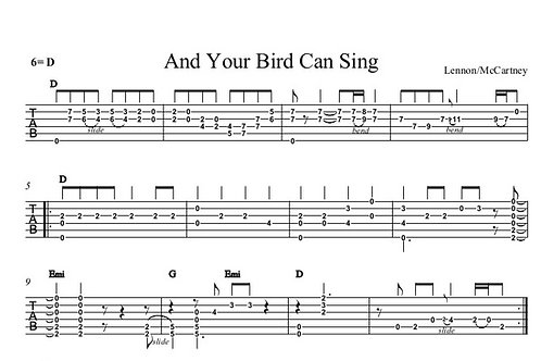 And Your Bird Can Sing Guitar Tab