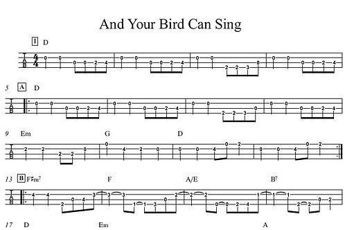 And Your Bird Can Sing Bass Guitar Tab