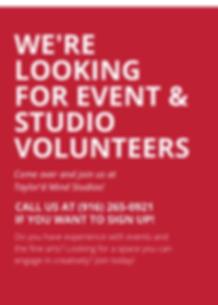 Were Looking for event  studio Volunteer