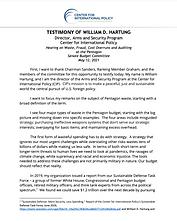 Testimony of William D. Hartung