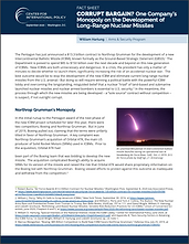 Fact sheet: Corrupt Bargain? One Company's Monopoly on the Development of Long-Range Nuclear Missiles