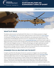 Factsheet: Egyptian Military Aid Suspension Turns Up Short