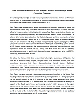 Joint Statement in Support of Rep. Joaquin Castro for House Foreign Affairs Committee Chairman