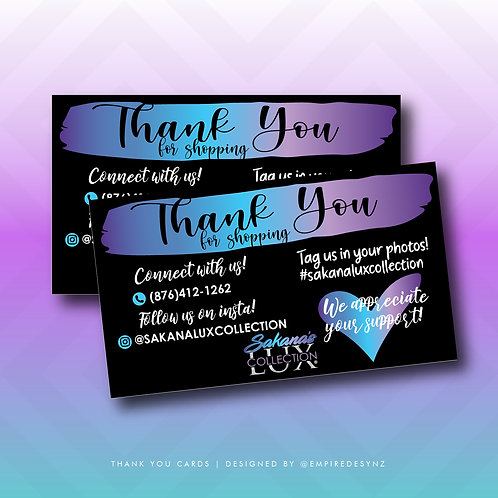One-Sided Thank You Cards