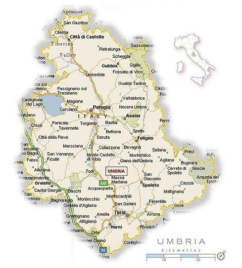 Kaart Umbrië