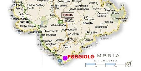 Kaart Zuid-Umbrië, Poggiolo