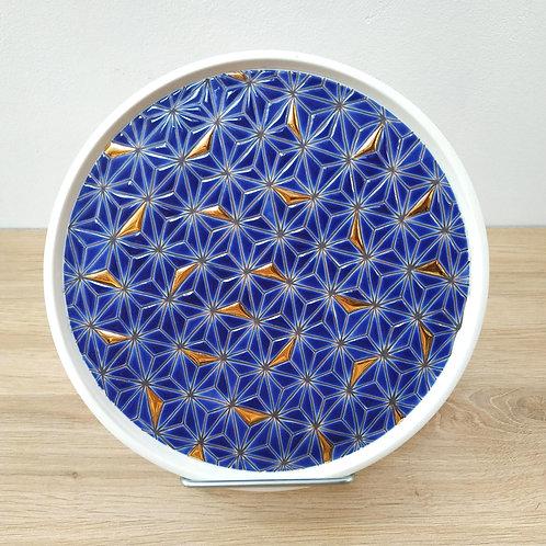 Assiette Asanoha Bleu Or