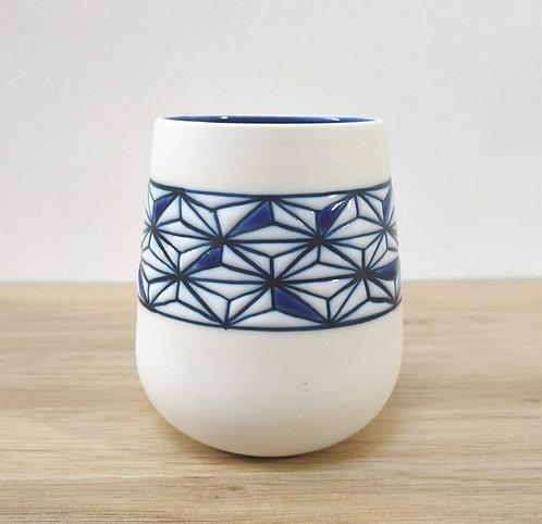 Gobelet Asanoha Bleu et Blanc